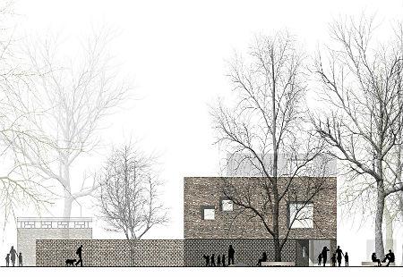 BUB architekten bda _KITA Lurup_Wettbewerb_Ansicht Ost_KITA _Frontbild